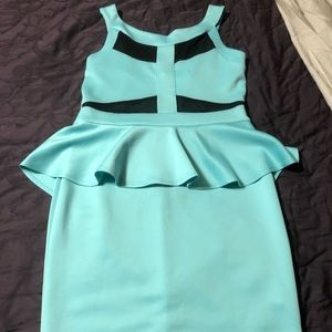Mesh turquoise bodycon dress by Charlotte Russe